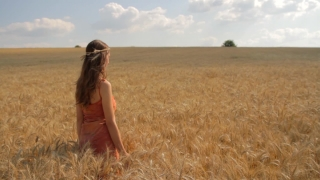 Young Beautiful Woman Wheat Field Worship Pose Religion Health