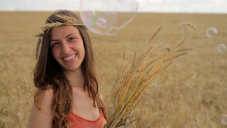 Young Woman Holding Wheat Smiling Field Nature Rest HD