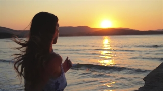 Attractive Female Sunset Running Ocean Pier Water Beach HD