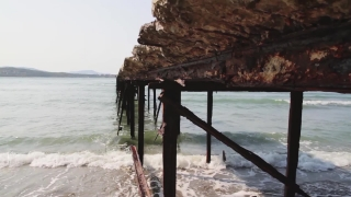 Woman Walking on Old Pier Beauty Vacation Concept HD