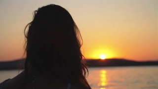 Woman Silhouette at Sunset Beach Slow Motion HD
