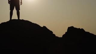 New Beginning Vacation Sunset Sea Mountain Man Silhouette