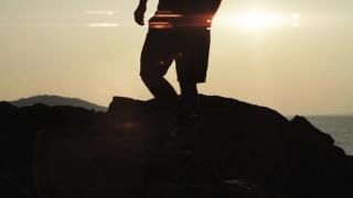 Sunset Beach silhouette Man Walking Lens flare HD