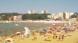 Tourists on Crowded Beach Vacation Consumerism Time Lapse