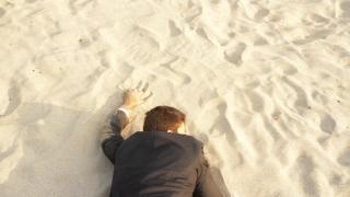Businessman Lost Desert Success Concept Reaching Rescue Water