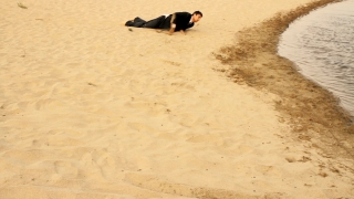 Businessman Crawiling in Desert Reaching Water Safety Concept HD
