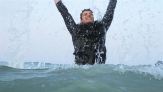 Victory Pose in Water Business Success Celebration HD