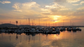 Yachts Sunset Bay Port Ocean Background HD