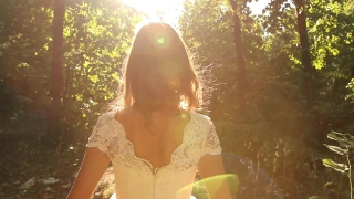 Summer Nature Girl Vintage Dress Walking Sunlight Forest