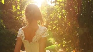 Elegant Young Female Model Vintage Dress Wlaking Forest HD