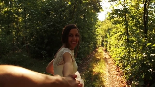 Romantic Wedding Concept Bride Holding Hand Forest Walking