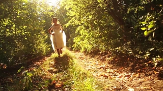 Wedding Bride Running in Forest Slow Motion HD