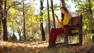 Attractive Woman Autumn Park Texting Cellphone