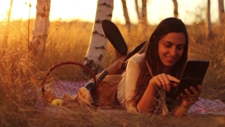 Communication Technology in Nature  Woman using