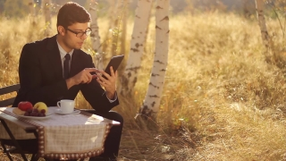 Remote Business  Young Man using tablet pc nature