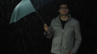 Young Man Sad Upset Rain Bad Weather Concept