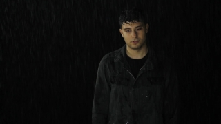 Sad Depressed Young Man Drenched Rain Alone