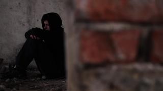 Sad Depressed Homeless Man Abandoned Shelter