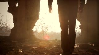 Man Walking Toward Hope Sun Light Out of Darkness Destruction