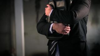 Scarred Businessman Failure Guilt Stress Hugging Briefcase