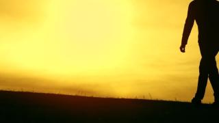 Man Walking Worship Pose Sunset Silhouette Thankful
