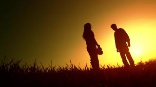 Man Breaking Up with Woman Heartbreak Concept
