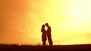 Young Love Concept Silhouette Sunset
