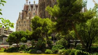 Sagrada Familia Cathedral In Barcelona Spain Exterior Tilt Shot