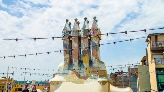 BARCELONA, SPAIN - CIRCA JULY 2016: Casa Battlo rooftop chimneys by Gaudi.