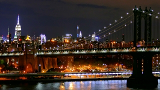 Illuminated Manhattan Bridge Footage New York City Empire State Building Modern Connection Travel USA Landmark Timelapse Tourism Famous 4K
