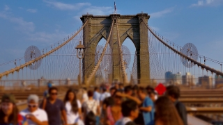 Brooklyn Bridge Tourists Footage New York City Manhattan Connection Travel USA Landmark Timelapse  Architecture Tourism Famous