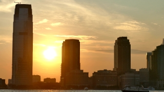 New Jersey Sunset 30 Hudson Street Skyscrapers Footage Nyc Manhattan Modern Travel Timelapse 4K USA City Landmark Tourism Famous Orange