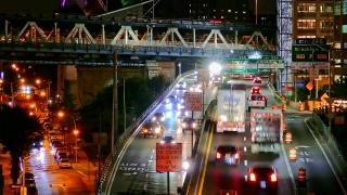 High Angle Footage Illuminated City Highway Bridge Night New York Manhattan USA Busy Traffic Footage Road Crowded Transportation Connection
