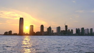 30 Hudson Street Sunset New Jersey Skyscrapers Nyc Footage Manhattan Modern River Travel USA City Landmark Tourism Famous Sky Water