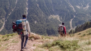 Drone Footage Of Male Backpackers Hiking In Mountain Adventure Sport Nature Travel Top Beautiful Success Vacation Healthy Lifestyle Men