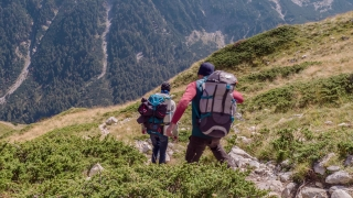 Men With Backpacks Hiking On Mountain Landscape Nature Extreme Sport Healthy Lifestyle Freedom Journey Trekking Success Strength