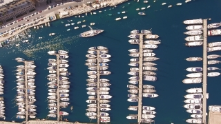 Drone Footage Of Boats Moored At Marina Malta Travel Harbor Tourism Town Marine Yacht History Mediterranean Traditional Marina Island Summer Valletta