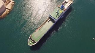 Aerial Drone Footage Of Cargo Ship Sailing In Mediterranean Sea Summer Malta Travel City Holiday Beautiful Vacation Building Ancient Island