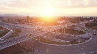 City Interchange During Sunset Timelapse Car Downtown Transportation Freeway Modern Bridge Travel 4K Traffic Office Park
