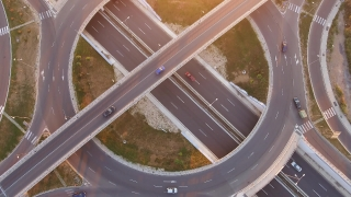 Traffic On Road Interchange And Overpass  Roundabout Highway Transportation Travel Vehicle Rush Junction Time Lapse Above