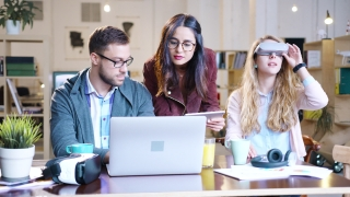 Diverse Group Of Software Engineers Programming AR Vr Application Holograms Concept Successful Young Coworkers Innovative Team Creating Future Startup