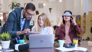 3D Hologram Game Developing Innovating Futurism Concept Developer Professionals Creating Future Technology  Creative Computer Science Students Virtual Reality Gaming Wearing Virtual Reality Vr Headset