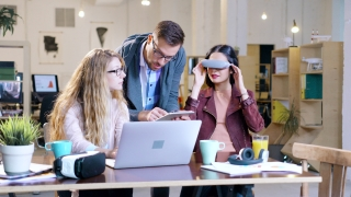 3D Hologram Game Developers Programming AR Vr Application Creating Virtual Reality Applications Wearing Virtual Reality Vr Headset Glasses Future Of Business Teamwork Startup Innovation Futurism Innov