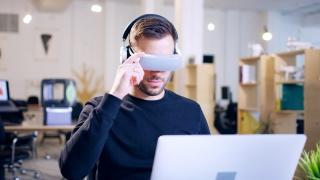 Trendy Vr Game Designer 3D Hologram Game Developer Holograms Concept Virtual Reality Gaming Testing Augmented Reality Headset Future Of Business Startup Innovation Innovative Entrepreneur