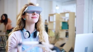 Female Professional Wearing Virtual Reality Vr Headset Glasses Exploring Virtual Reality Experience Startup Innovation In Modern Office 4K Slow Motion Shot On Red Epic 8K