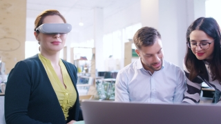 Trendy Designers Wearing Virtual Reality Vr Headset Glasses Testing Augmented Reality Headset Virtual Reality Gaming Programming AR Vr Application Sdk Software Engineering Holograms Concept