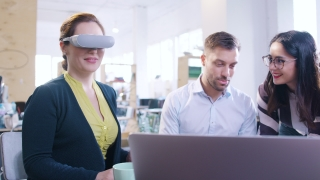 Innovative Team Creating Virtual Reality Applications Virtual Reality Gaming Trendy Designers Programming AR Vr Application In Modern Office Vr Application Development Developing Futuristic Technology