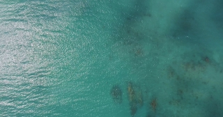 Aerial Drone Shot Over Beautiful Caribbean Blue Sea Shore and Romantic Jetty Pier Jamaica Scenic Seascape Summer Vacation Destination Tourism And Travel Concept Slow Motion 4k
