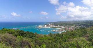 Aerial Shot Fly Over Exotic Island Beach Tropical Destination Jamaica Summer Vacation Destination Summer Getaway Concept Slow Motion 4k