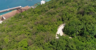 Aerial Flying Over Exotic Ocean Shoreline Jamaican Nature Landscape Summer Vacation Destination Caribbean Vacation Holiday Concept Slow Motion 4k